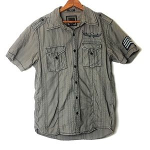 BKE Slim Fit Military Button Down Collared Shirt